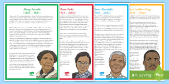 Wichtige schwarze Persönlichkeiten Poster für die Klassenraumgestaltung - Nelson Mandela, Mary Seacole, Rosa Parks, Martin Luther King, Black History Month, ,German
