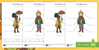 Herbst Kleidung zum Beschriften Arbeitsblätter: Unterschiedliche Schwierigkeitsgrade - Herbst, Kleidung, Kleider, Wetter, German