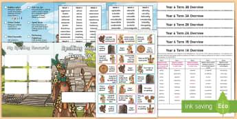 Year 6 Mayan Themed Spelling Menu Pack - spag, gps, home learning, weekly, lists, test,