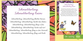Schmetterling, Schmetterling, Reim Rhyme -   Frühling, Jahreszeiten, Lieder und Reim, Kindergarten und Vorschule, Schmetterling, spring, seaso