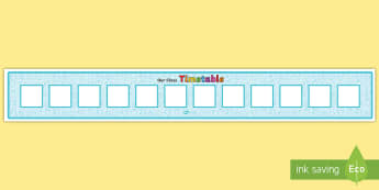 Horizontal Visual Timetable Display with 12 Boxes Display Banner - schedule, calendar, time-keeping, daily activities,