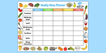 Childminder Weekly Menu Planner - childminder, menu, planner