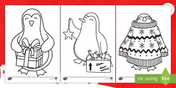 Feuilles de coloriage : Les pingouins de Noël - hiver, fêtes, événement, dessin, cycle 1, cycle 2,French