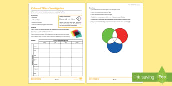 Coloured Filters Investigation Instruction Sheet  - light, light rays, practical, physics, waves, filters, colour, eye