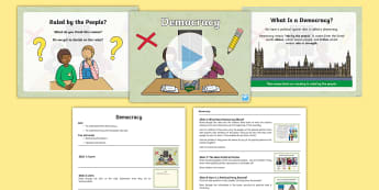 Whole School Democracy Assembly Pack - campaign, parliament, government, prime minister, political party
