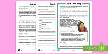 April Fools' Day KS2 Differentiated Reading Comprehension Activity - April Fool's Day, April fool, april fools' day, 1st april, april 1st, first april, april, fool, fo
