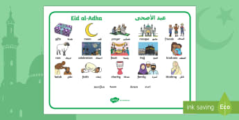 Eid al-Adha Topic Word Mat Arabic/English - eid al-adha, eid, islamic holiday, islamic celebrations, hajj, pilgrimage, ibrahim EAL Arabic,Arabic