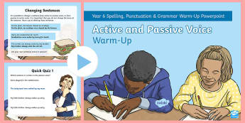 Y6 Active and Passive Voice Warm-Up PowerPoint - subject, object, verb, quick quiz, starter