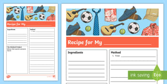 Father's Day Writing Task Recipe - father's day, writing, recipe, recipes, dad, father, procedure,Australia