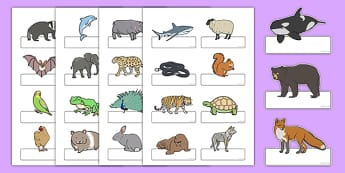Editable Self-Registration Labels (Animals) - Self registration, register, animals, animal, editable, labels, registration, child name label, printable labels