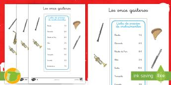 Fichas de actividad: Los once gaiteros - ideas, manualidad, suma, sumas, adición, adiciones, adicionar, dinero, sumar, matemática, matemát