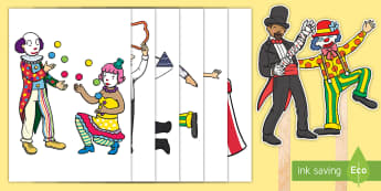Circus Stick Puppets - EYFS Circus, big top, clowns, ringmaster, acrobats, juggler, trapeze, tightrope, small world, acting