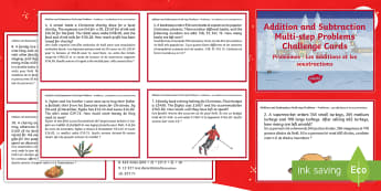 Addition and Subtraction Multi-Step Word Problems Christmas Maths Challenge Cards English/French - Christmas Maths KS2, Year 5, Y5, Year 6, Y6, multi-step word problems, addition, subtraction, EAL Fr