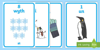Winter Themed Number with Words & Numbers (1 - 10) Display Posters English/Welsh - numbers, welsh numbers, numeracy, welsh posters, winter,Welsh