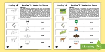 Reading 'th' Words Card Game - CfE, early level, phonics, blending, reading games, self-correcting games, digraphs, consonant digra
