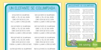 Póster DIN A4: Un elefante se columpiaba 1-10 - Canción, Tradicional, Animales, Contar, Numeración, Spanish