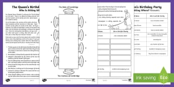The Queen's Birthday Party. Who is Sitting Where? Maths Puzzle Answers. Go Respond Activity Sheet - KS2 The Queen's Birthday (21st April 2017) answer sheet. Upper Key Stage Two, Upper Key Stage 2, UK
