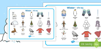 Winter Word Mat English/Hindi - topic words, skis, ice skates, polar bear, whale, penguin, huskey, snow, winter, frost, cold, ice, h