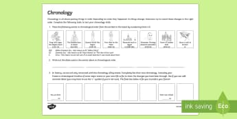 Chronology Activity Sheet - Secondary Transition Resources, History, Chronology, civilisation.