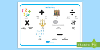 Numeracy Instructions Word Mat Arabic/English - EAL, Arabic, sums, maths, adding