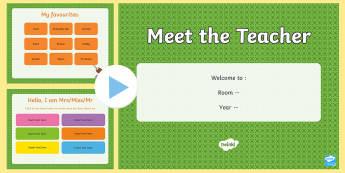Middle East Meet the Teacher PowerPoint - teacher introduction, Back To School, First Day, New School, UAE, Dubai, New Class