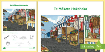 Market Word and Picture Matching Activity Sheet - Market, Mākete, Māori Language Week, Picture Word Find, Activity Sheet