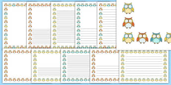 Cute Owl Themed Page Borders Pack - cute owl, themed, page borders, pack