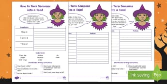 KS1 How to Turn Someone into a Toad Differentiated Writing Worksheet / Activity Sheet - Instructions, halloween, spell, potion, writing instructions