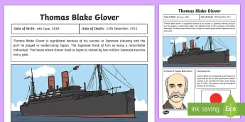 Scottish Significant Individuals Thomas Blake Glover Fact Sheet - CfE, Scottish Significant Individuals, history, key figures, people in past societies, Mitsubishi, J