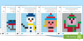 Winter Phase 3 Phonics Mosaic Activity Sheets -  phoneme, decode, pattern, nonsense, Fluency, Worksheets
