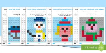 Winter Phase 3 Phonics Mosaic Worksheet / Activity Sheets -  phoneme, decode, pattern, nonsense, Fluency, Worksheets