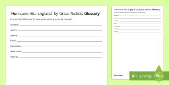 GCSE Poetry Glossary Activity Sheet to Support Teaching on 'Hurricane Hits England' by Grace Nichols - GCSE English Literature, Time and Place Cluster, Edexcel Poetry, Poetry Exploration, Exam Practice,