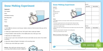 Winter Snow Melting Outdoor Science Experiment - outdoor learning, ice, weather, seasons, freezing,Scottish, water