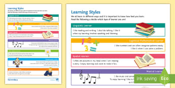 Learning Styles Activity Sheet - Learning styles, learning, kinaesthetic, visual, Auditory learners