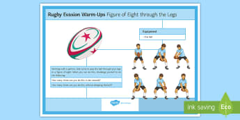 Rugby Warm-up: Figure of Eight through the Legs Card - rugby, warmup, warm-up, sport, PE