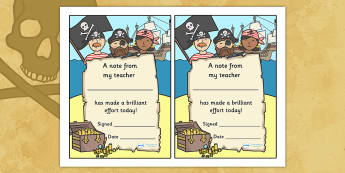 Note From Teacher Brilliant Effort (Pirate Themed) - note from teacher brilliant effort, brilliant effort, note from teacher, notes, praise, comment, note, teacher, teacher's, parents, brilliant, effort, good effort, pirate themed, pirates, themed