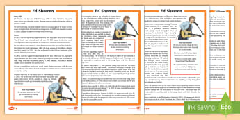 KS2 Ed Sheeran  Differentiated Fact File - ks2 music, artist, soloist, musician, guitarist, guitar player, significant individuals, ks2 reading