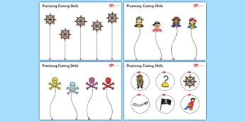 Pirate Themed Scissor Skills Activity Sheet Pack - pirate, themed, scissor skills, activity, sheets, fine, motor, worksheet