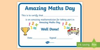 World Maths Day Certificate - National Events, Numeracy, celebrate, achievement, Basic Skills, Scotland,Scottish