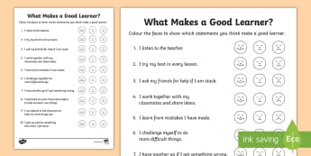 KS1 What Makes a Good Learner? Survey Activity - questions, opinions, learning attitude, helping yourself, all about me
