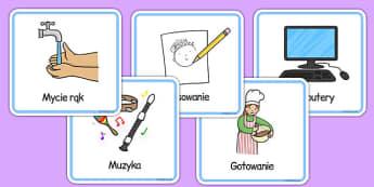 Obrazkowy Plan zajęć dla przedszkola/klas początkowych po polsku