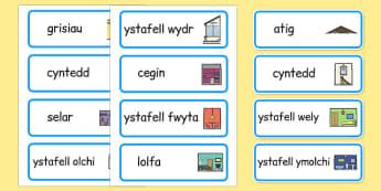 Parts of a House Word Cards Cymraeg - cymraeg, welsh, parts of a house, word mat, parts, house