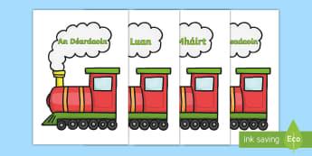 Postaer Taispeána A4: Laethanta na Seachtaine ar Traein - Laethanta na Seachtaine, days of the week, gaeilge, on train, ar traein, Irish