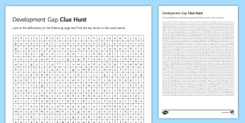 Development Gap Clue Hunt Activity Sheet - primary, secondary, tertiary, industry, development, economy