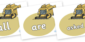Tricky Words on Combine Harvesters - Tricky words, DfES Letters and Sounds, Letters and sounds, display, words