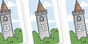 Numbers 0-100 on Towers - 0-100, foundation stage numeracy, Number recognition, Number flashcards, counting, number frieze, Display numbers, number posters