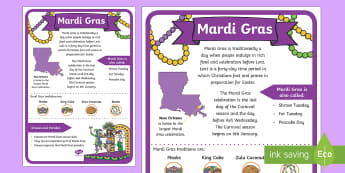 Mardi Gras Large Display Poster - Mardi Gras, Fat Tuesday, Shrove Tuesday, Carnival, Traditions, Parades, New Orleans, Masks, Beads, K