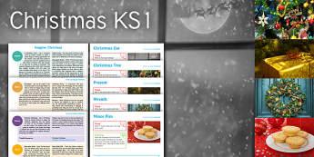 Imagine Christmas KS1 Resource Pack - Christmas Eve, Christmas Tree, Wreath, Mince Pie, Present, Gift