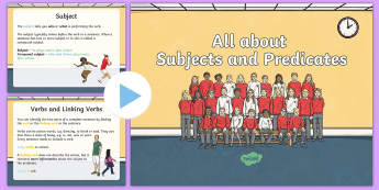All about Subjects and Predicates  PowerPoint - Subjects, Predicates, Complete sentences, Nouns, Verbs, English, Language, sentence, Subjects and Pr