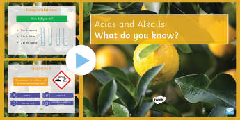 Acids and Alkalis Quiz PowerPoint - PowerPoint Quiz, Acid, Alkalis, Neutral, Weak, Strong, Dilute, Concentrated